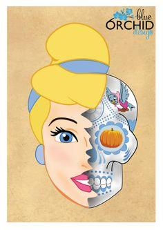 Disney Princess Cinderella Sugar Skull A4  by BlueOrchidDesignsNZ, $30.00