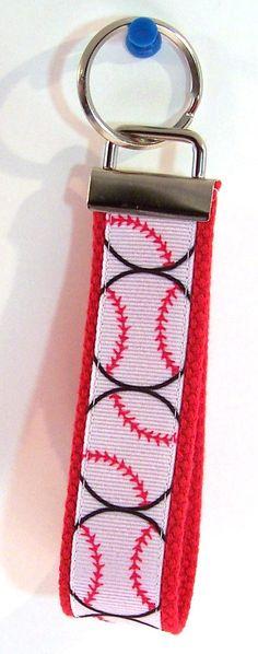 Baseballs Key Fob Key Chain Wristlet by GabbysQuiltsNSupply, $5.00