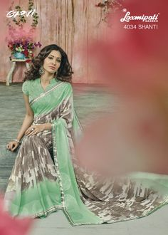 fed0aaaf5e Off White   Green Color Georgette Party Wear Sarees   Sukanya Collection
