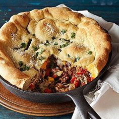 Cast-Iron Skillet Calzone Cooking this ground beef recipe in a cast iron skillet transforms a calzone into a hearty kid-friendly casserole that satisfies six diners.
