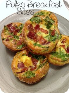 Paleo Breakfast Bites. I used 16 eggs for my 12 cup muffin tin. 5 pieces of turkey bacon, broccoli, spinach, onion, goat cheese.