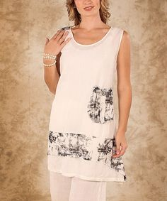 Look at this Firmiana White & Black Accent Pocket Linen Sleeveless Top - Women & Plus on #zulily today!