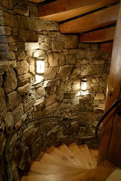 Stairs: Stone Walls And Rustic Spiral Steps, By Paddlecreek. Log Cabin Man  Cave
