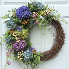 Summer Wreath-Hydrangea Wreath-Garden Wreath-Summer Wreath for Door-English Garden Wreath-Provencal Wreath-French Country Wreath  This wreath is