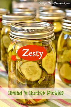 "Zesty bread and butter pickles. I think I'll try and incorporate some of the ""zesty"" into my own pickles.......D."