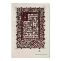 Vintage Arts And Crafts Style Illuminated Text Poster - antique gifts stylish cool diy custom