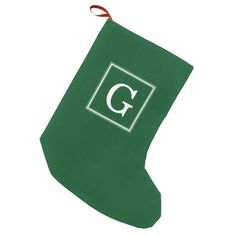 Classic Green Framed Monogram Small Christmas Stocking
