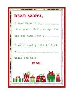 Printable labels, wish list & letter to Santa