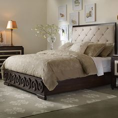 Bring stately style to your master suite or guest room with this lovely bed, showcasing button-tufted upholstery and scrolling details.Not a platform bed, but beautiful. Hooker Furniture, Bedroom Furniture, Bedroom Decor, Bedroom Ideas, Bedroom Fun, Bedroom Brown, Furniture Ideas, Modern Furniture, King Headboard
