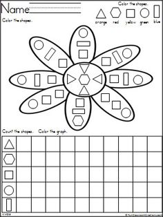 Flower shapes and graphing activity with 5 shapes to color and graph.