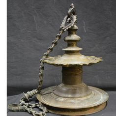 KERALA, BRONZE, HANGING OIL LAMP/DIYA. View and buy similar products on www.thevintagecart.com