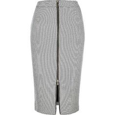 Black check print zip front pencil skirt - tube / pencil skirts - skirts - women