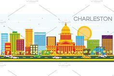 Charleston Skyline Graphics Charleston Skyline with Color Buildings and Blue Sky. West Virginia. Vector Illustration. Business T by Igor Sorokin