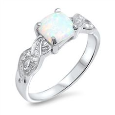 Sterling Silver CZ Simulated Diamond Lab White Opal Infinity Engagement Ring 8MM