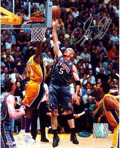 Jason Kidd Nets Grey Jersey Lay Up Vs. Kobe 8x10 Photograph