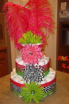 Pink and Green Zebra Diaper Cake by @Joanna Osborne