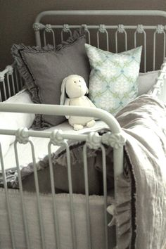 Iron crib and cozy bedding Iron Crib, December Baby, Girl Nursery, Nursery Ideas, White Nursery, Crib Bedding, Blue Bedding, Bedding Sets, Vintage Nursery