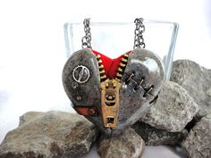 Steampunk Polymer Clay Zipper Heart Necklace by TheArtistsWorkshop