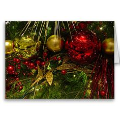 Red and Gold #Christmas #Ornaments on #Xmas #Christmastree #Card #Sandyspider #Zazzle