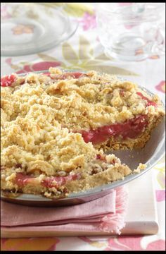 Crusty rhubarb pie-One of my favorite recipes for rhubarb. Easy and delicious!