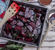 This dish is earthy as one would expect from the beets. And it is no surprise how well balsamic compliments that flavor. The chocolate just adds a touch of sweetness to enhance the flavors you get from roasting the root veggie. Veggie Recipes, Gourmet Recipes, Vegetarian Recipes, Dinner Recipes, Veggie Food, Vegan Vegetarian, Small Baking Dish, Roasted Beets, Good Food