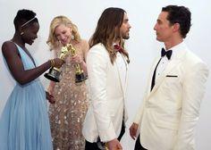 Lupita Nyong'o, Cate Blanchett, Jared Leto y Matthew McConaughey tras ganar sus Oscars, 2014.