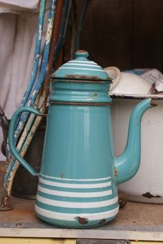 old blue enamelware coffee pot