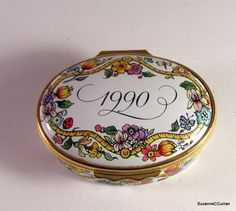 1990 Halcyon Days Susan KOMEN Foundation Enamel Box   eBay Halcyon Days, Pill Boxes, Trinket Boxes, Foundation, Enamels, Antiques, Pretty, Ebay, Crates
