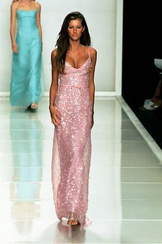 Badgley Mischka | Spring 2000 Ready-to-Wear | 80 Pink embellished strappy maxi dress