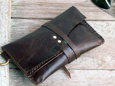 Tobacco Pouch Leather simple pouch case Hand stitched for him or her