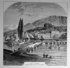 Suisse - View of Geneva,Island of Rousseau | Wood Cut .View of Geneva, Showing the Island of Rosseau Graphic         : Wood Cut from              : History of Protestantism Size Picture  : 15,5 x 15,5 cm   Year              : + 1878 Printed text on reverse.