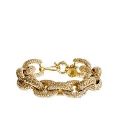 "Classic pavé link bracelet, from j.crew. ""The latest in our popular link bracelet series, this style boasts two shades of luminescent glass-encrusted brass links in a bold oversize profile. Glass stones pavé set by hand in shiny gold-plated brass. Import. Length: 7 1/2""."" $118"