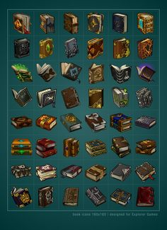 Tabletop Gaming Resources — Book Icons by Saarl Check out Tabletop Gaming.Tabletop Gaming Resources — Book Icons by Saarl Check. Prop Design, Game Design, Magia Elemental, Arte 8 Bits, Game Props, Game Resources, Rpg Maker, Weapon Concept Art, Magic Book