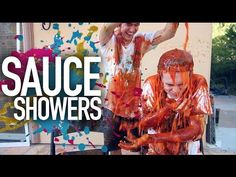 MESSY Sauce Showers. Messy Trivia. I want to do this so badly. It made me laugh so hard!