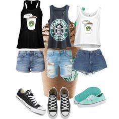 Starbucks tank-tops by jazzyboo-395 on Polyvore featuring polyvore, fashion, style, Current/Elliott, Levi's, Converse and Vans