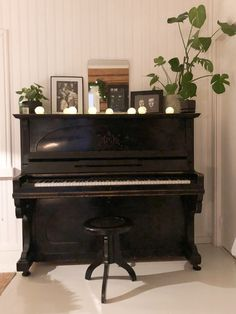 black piano decoration ideas, piano decor with plants, mirror above piano, piano with pictures, pianon sisustus ja koristelu kasveilla, mustan pianon koristelu