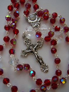 Handmade Rosary Red Crystal AB by AmyDavisArt on Etsy