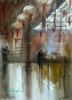 """Man Mo Temple, Hong Kong I, Interior Painting"" - Original Fine Art for Sale - © Keiko Tanabe"