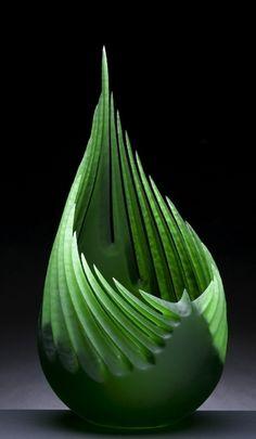 green - 'Emerald Thrust' - glass art - Paul Schweider