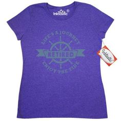Inktastic Nautical Retired Women's T-Shirt Ship Funny Lifes Journey Enjoy The Ride Tide Sailor Captain Retirement Pinkinkartkids Occupations Aging Over Hill Clothing Apparel Tees Adult, Size: XXL, Grey