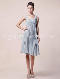 A-line Straps Knee-length Chiffon Mother of the Bride Dress