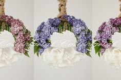Wonderful Props - Lilac and Natural Hanging Nest - set of 3 - Digital Backdrop - Photo Prop for Newborn Photography