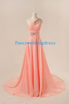 Custom Coral Pink Prom Dress One Shoulder Key Hole A Line Long Formal Dresses Beads Pleated Chiffon Prom Gown Wedding Party Guest Dress on Etsy, One Shoulder Bridesmaid Dresses, Wedding Bridesmaid Dresses, Gown Wedding, Shoulder Dress, Grad Dresses, Formal Dresses, Dress Prom, Party Dress, Chiffon Dress Long