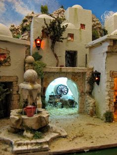 Un poblado de unas medidas de    100 x 45 cm Diy Nativity, Christmas Nativity Scene, Christmas Villages, Christmas Crafts, Christmas Decorations, Village Miniature, Miniature Crafts, Miniature Houses, Diorama