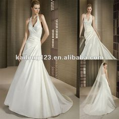 Halter V-neck Beaded Appliqued A-line Chapel train Ivory Satin Wedding Dress 2012 $216.00