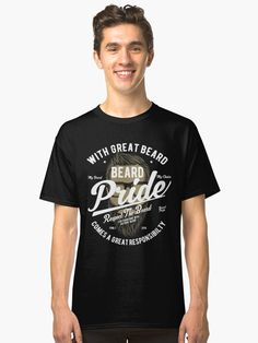 'Beard Pride Vintage T-shirt' Classic T-Shirt by artbaggage Best Street Outfits, Great Beards, Vintage T-shirts, White T, Slim Fit, Custom Clothes, Tshirt Colors, Chiffon Tops, V Neck T Shirt