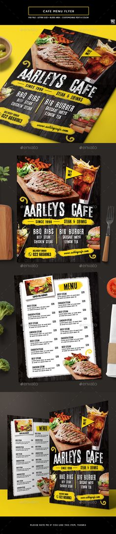 Cafe Menu Flyer - Food Menus Print Templates Download here : https://graphicriver.net/item/cafe-menu-flyer/19504853?s_rank=74&ref=Al-fatih