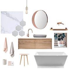 Your bathroom's design begins with the mood board. This is where your chosen fabrics, paint colours and inspirational come together to show the overall effect of your planned bathroom design. Modern Farmhouse Bathroom, Gold Bathroom, Bathroom Inspiration, Bathroom Decor, Gold Bathroom Decor, Interior Design Mood Board, Interior Design Boards, Timber Vanity, Bathroom Design