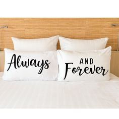 Valentine's Gift, Gift for her. Girlfriend, Couple pillowcases,Always and forever pillow cases, Gifr for  him.