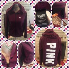 Pink Victoria's Secret Full Zip Hoodie Zip Pockets Pink Victoria's Secret maroon colored full zip hoodie.  There is an accent of black on both sides and underneath each sleeve.  2 front pockets with zippers.  The letters PINK in white down the back.  There is no string for the hood.  Size medium.  No trades. Use offer option. PINK Victoria's Secret Tops Sweatshirts & Hoodies